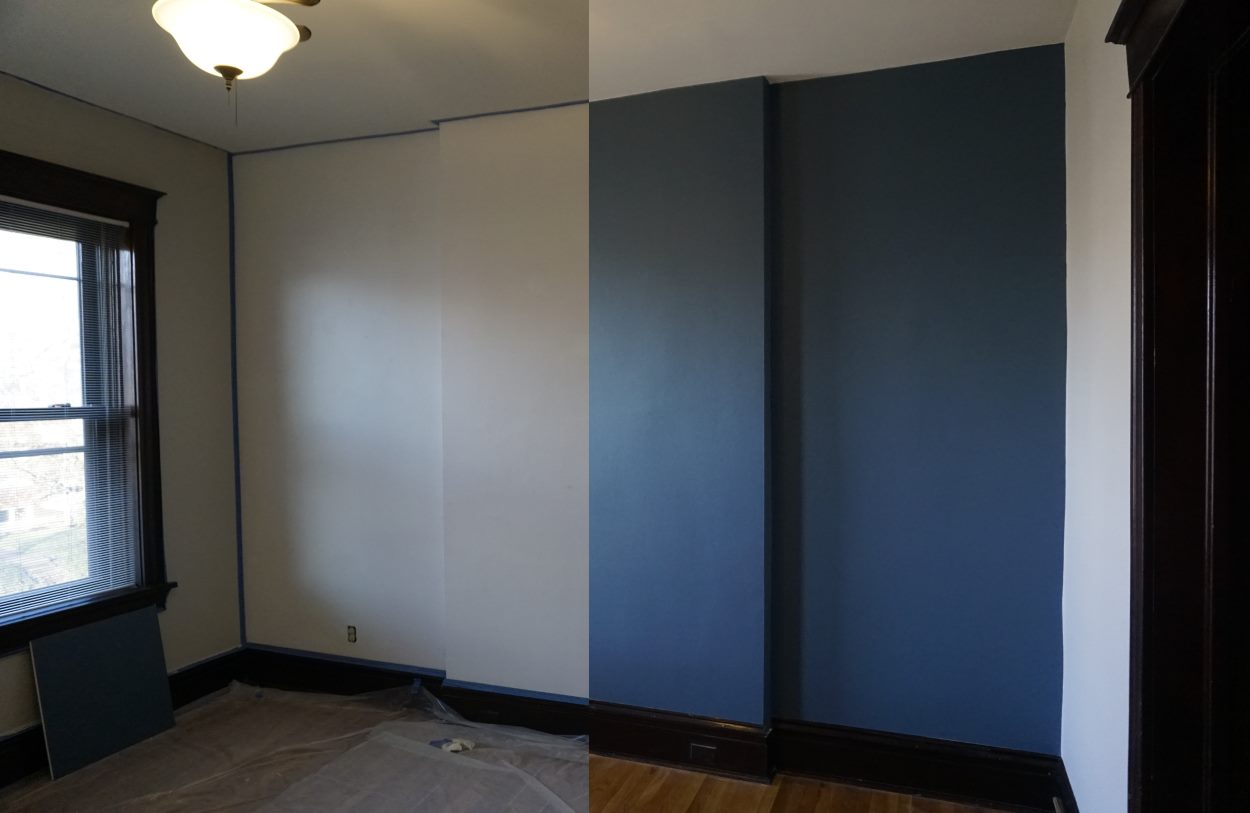 Office, before and after painting blue