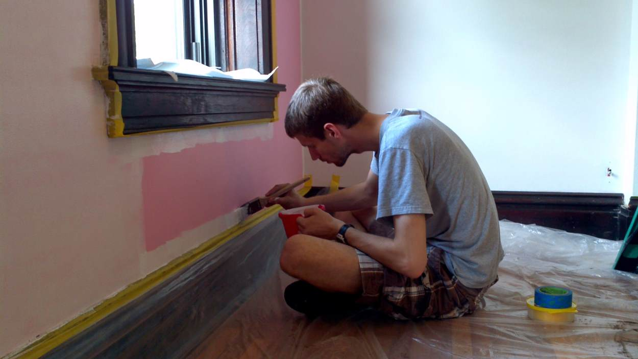 Priming over pink walls in the office